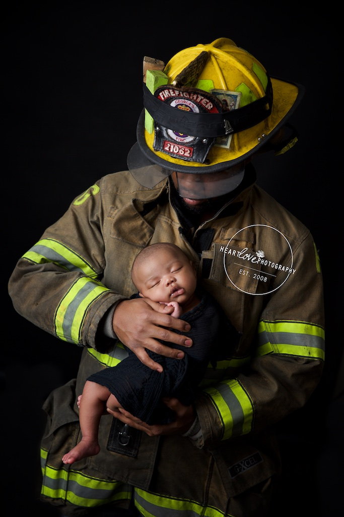 Fire fighter dad with newborn son maryland baby photographer